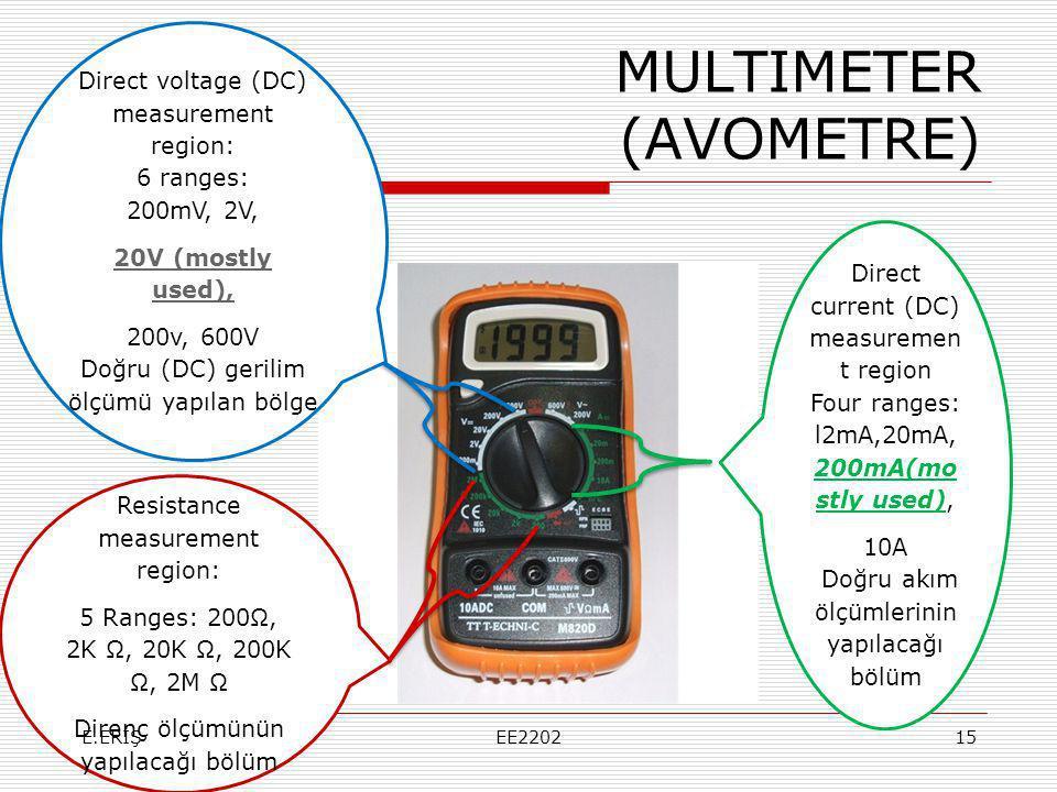 MULTIMETER (AVOMETRE) Direct current (DC) measuremen t region Four ranges: l2mA,20mA, 200mA(mo stly used), 10A Doğru akım ölçümlerinin yapılacağı bölüm Direct voltage (DC) measurement region: 6 ranges: 200mV, 2V, 20V (mostly used), 200v, 600V Doğru (DC) gerilim ölçümü yapılan bölge Resistance measurement region: 5 Ranges: 200Ω, 2K Ω, 20K Ω, 200K Ω, 2M Ω Direnç ölçümünün yapılacağı bölüm E.ERİŞEE220215