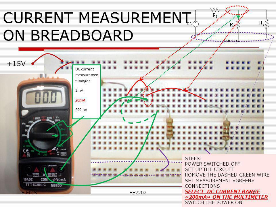 CURRENT MEASUREMENT ON BREADBOARD +15V Toprak DC current measuremen t Ranges. 2mA; 20mA 200mA STEPS: POWER SWITCHED OFF SET UP THE CIRCUIT ROMOVE THE