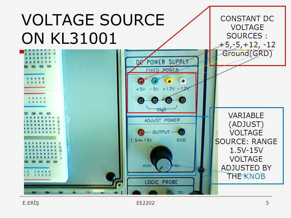 VOLTAGE SOURCE ON KL31001 CONSTANT DC VOLTAGE SOURCES : +5,-5,+12, -12 Ground(GRD) VARIABLE (ADJUST) VOLTAGE SOURCE: RANGE 1.5V-15V VOLTAGE ADJUSTED B