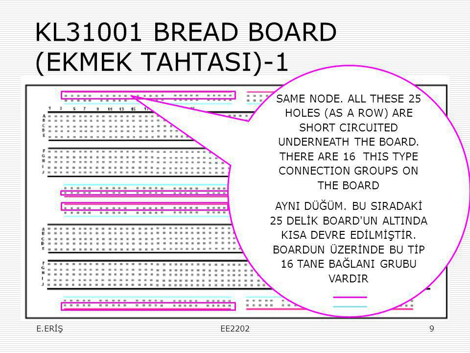 KL31001 BREAD BOARD (EKMEK TAHTASI)-1 SAME NODE. ALL THESE 25 HOLES (AS A ROW) ARE SHORT CIRCUITED UNDERNEATH THE BOARD. THERE ARE 16 THIS TYPE CONNEC