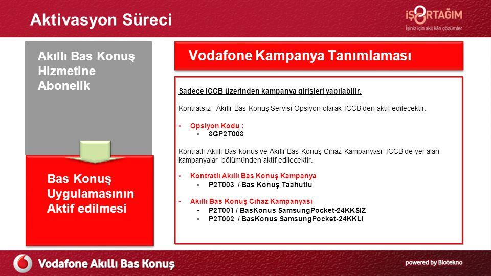 Aktivasyon Süreci Ön Başvuru Süreci Akıllı Bas Konuş Hizmetine Abonelik Bas Konuş Uygulamasının Aktif edilmesi Vodafone Kampanya Tanımlaması Sadece ICCB üzerinden kampanya girişleri yapılabilir.