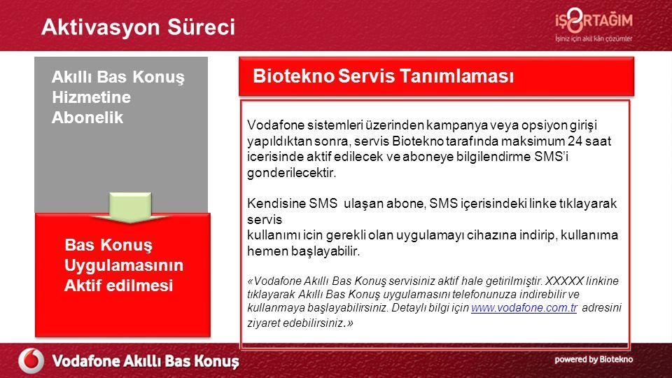 Aktivasyon Süreci Ön Başvuru Süreci Vodafone sistemleri üzerinden kampanya veya opsiyon girişi yapıldıktan sonra, servis Biotekno tarafında maksimum 24 saat icerisinde aktif edilecek ve aboneye bilgilendirme SMS'i gonderilecektir.
