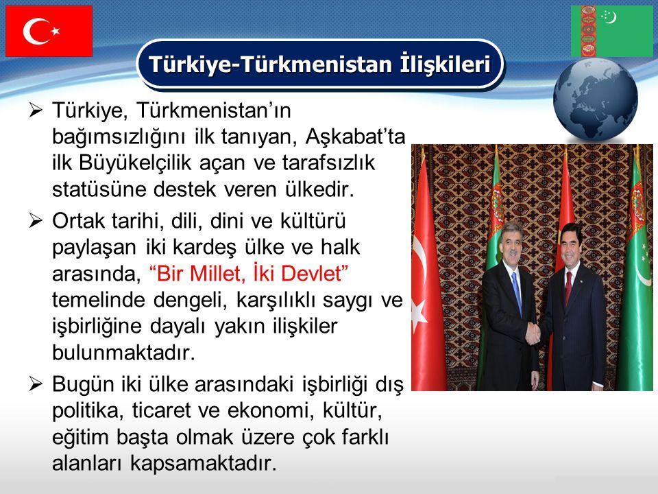  Türkiye, Türkmenistan'ın bağımsızlığını ilk tanıyan, Aşkabat'ta ilk Büyükelçilik açan ve tarafsızlık statüsüne destek veren ülkedir.  Ortak tarihi,