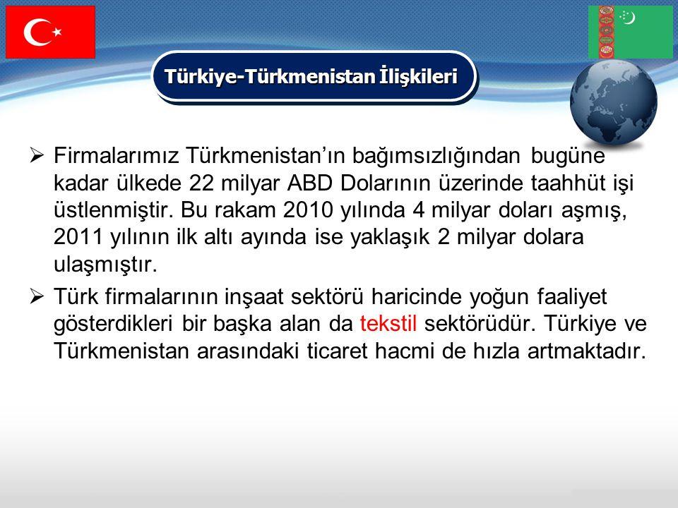  Firmalarımız Türkmenistan'ın bağımsızlığından bugüne kadar ülkede 22 milyar ABD Dolarının üzerinde taahhüt işi üstlenmiştir. Bu rakam 2010 yılında 4