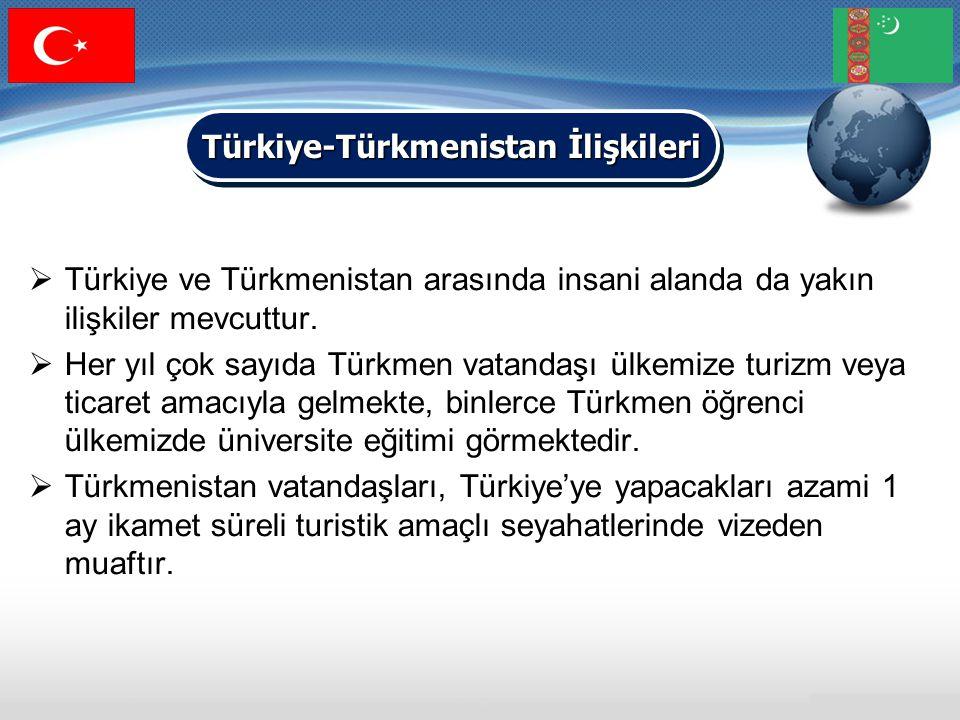  Türkiye ve Türkmenistan arasında insani alanda da yakın ilişkiler mevcuttur.  Her yıl çok sayıda Türkmen vatandaşı ülkemize turizm veya ticaret ama