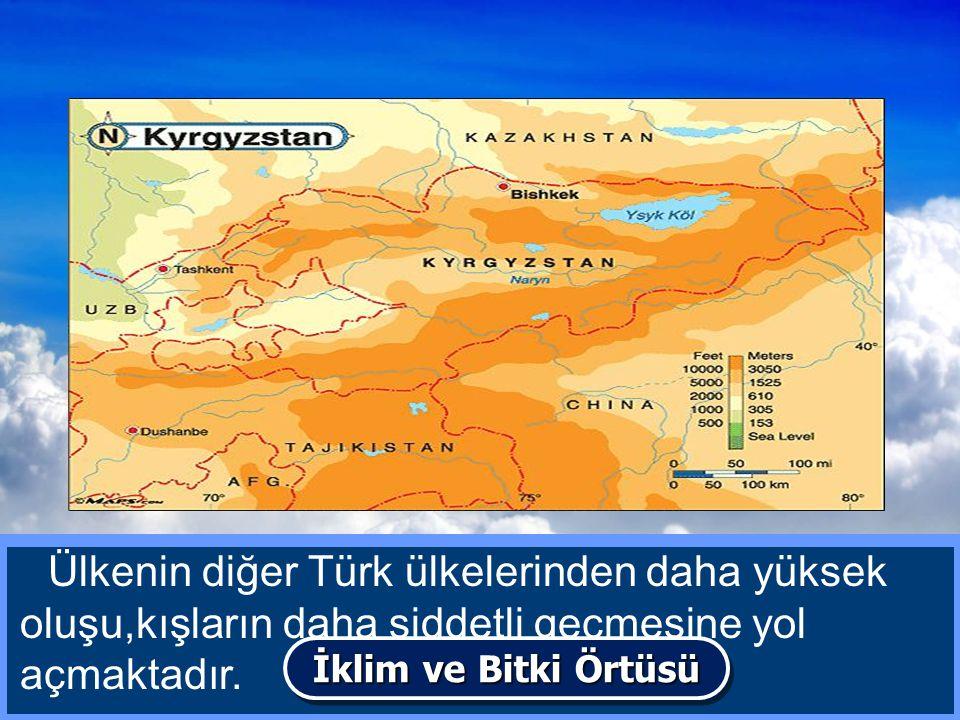 Kırgızistan'da genel olarak karasal bir iklim hüküm sürer.Yazlar sıcak ve kurak,kışlar soğuk ve kar yağışlıdır. Ülkenin diğer Türk ülkelerinden daha y