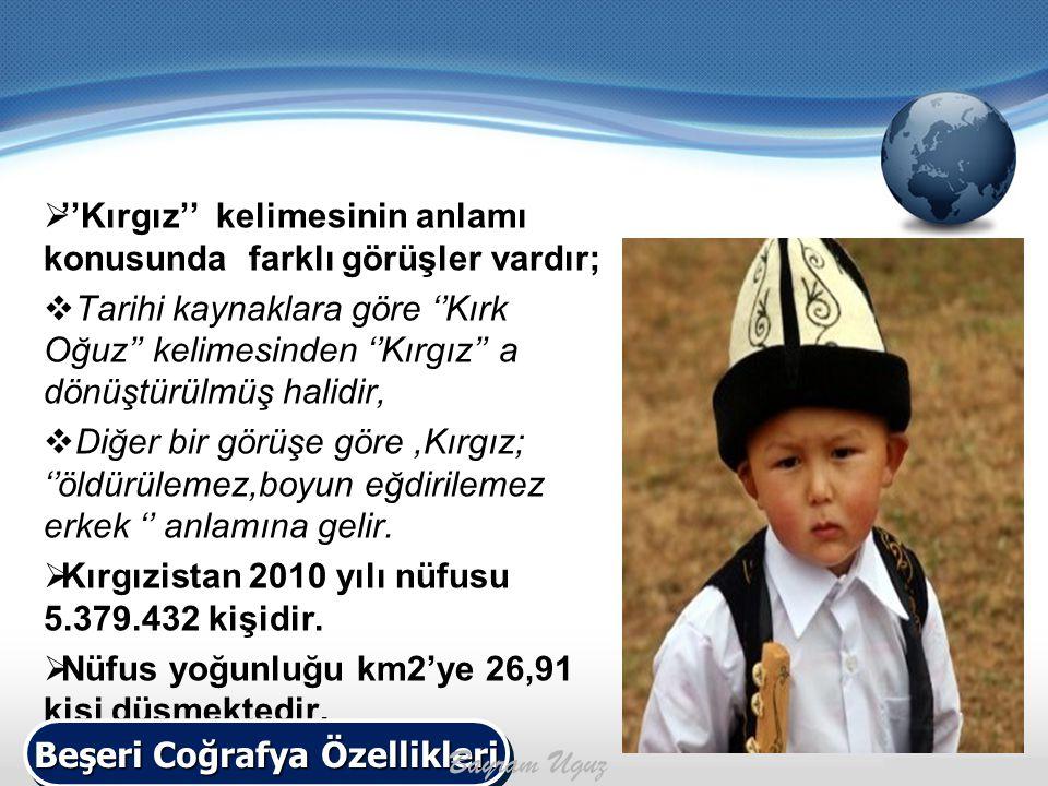  ''Kırgız'' kelimesinin anlamı konusunda farklı görüşler vardır;  Tarihi kaynaklara göre ''Kırk Oğuz'' kelimesinden ''Kırgız'' a dönüştürülmüş halid