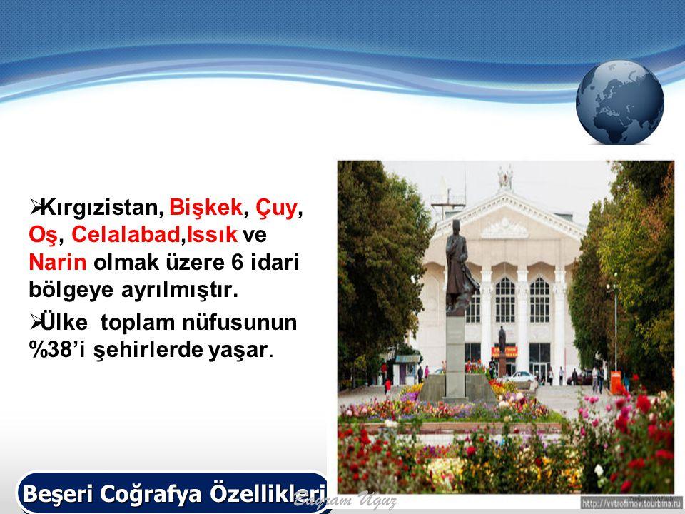  Kırgızistan, Bişkek, Çuy, Oş, Celalabad,Issık ve Narin olmak üzere 6 idari bölgeye ayrılmıştır.  Ülke toplam nüfusunun %38'i şehirlerde yaşar. Beşe