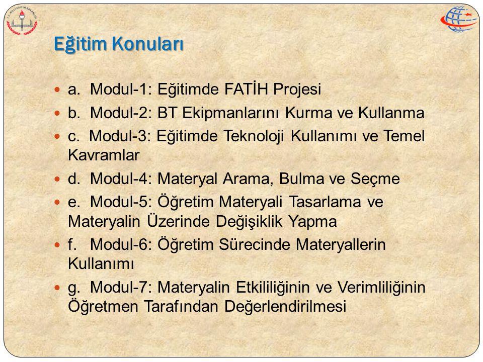 Eğitim Konuları  a. Modul-1: Eğitimde FATİH Projesi  b. Modul-2: BT Ekipmanlarını Kurma ve Kullanma  c. Modul-3: Eğitimde Teknoloji Kullanımı ve Te