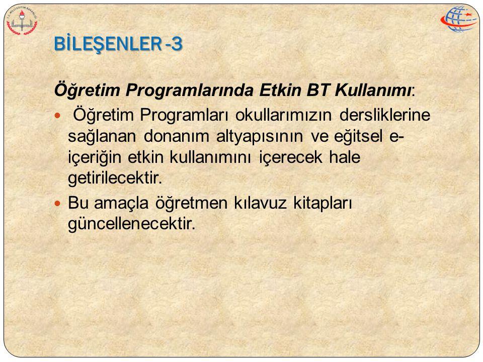 BİLEŞENLER -3 Öğretim Programlarında Etkin BT Kullanımı:  Öğretim Programları okullarımızın dersliklerine sağlanan donanım altyapısının ve eğitsel e-