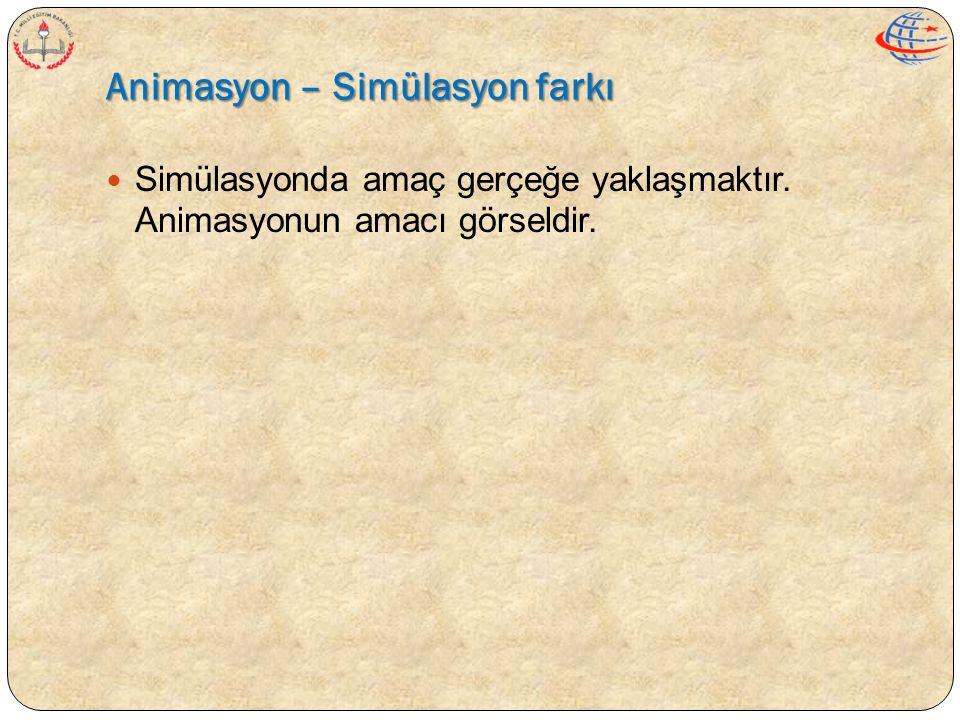 Animasyon – Simülasyon farkı  Simülasyonda amaç gerçeğe yaklaşmaktır. Animasyonun amacı görseldir.