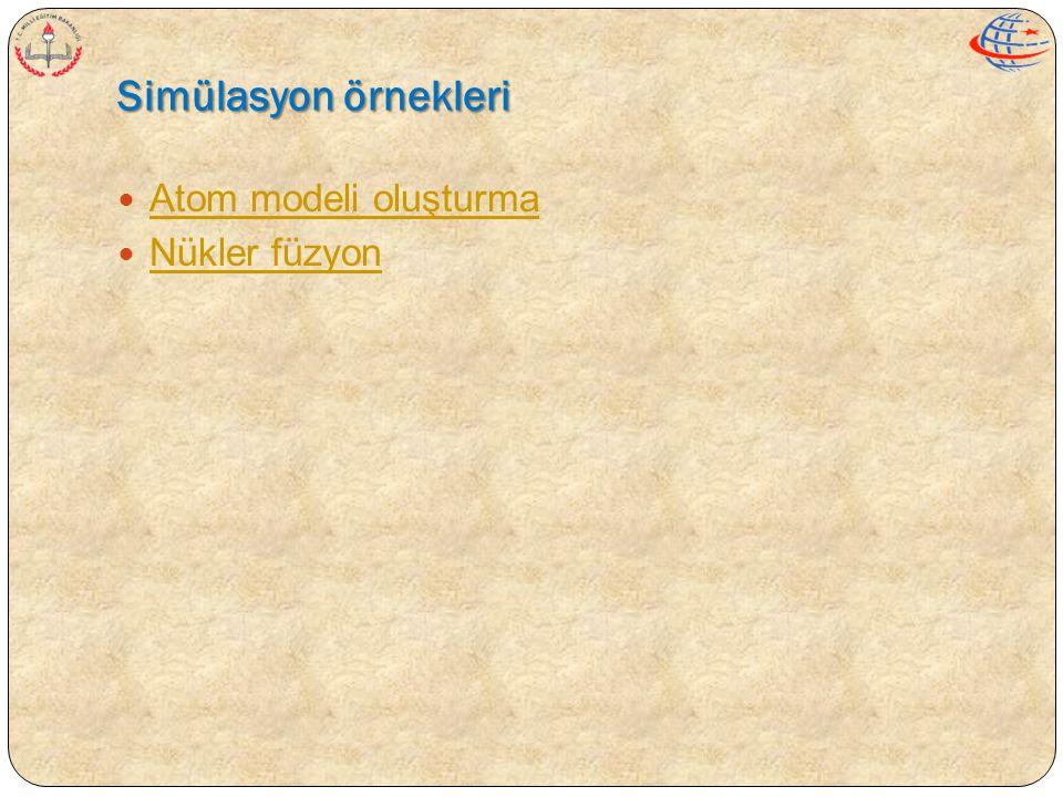 Simülasyon örnekleri  Atom modeli oluşturma Atom modeli oluşturma  Nükler füzyon Nükler füzyon