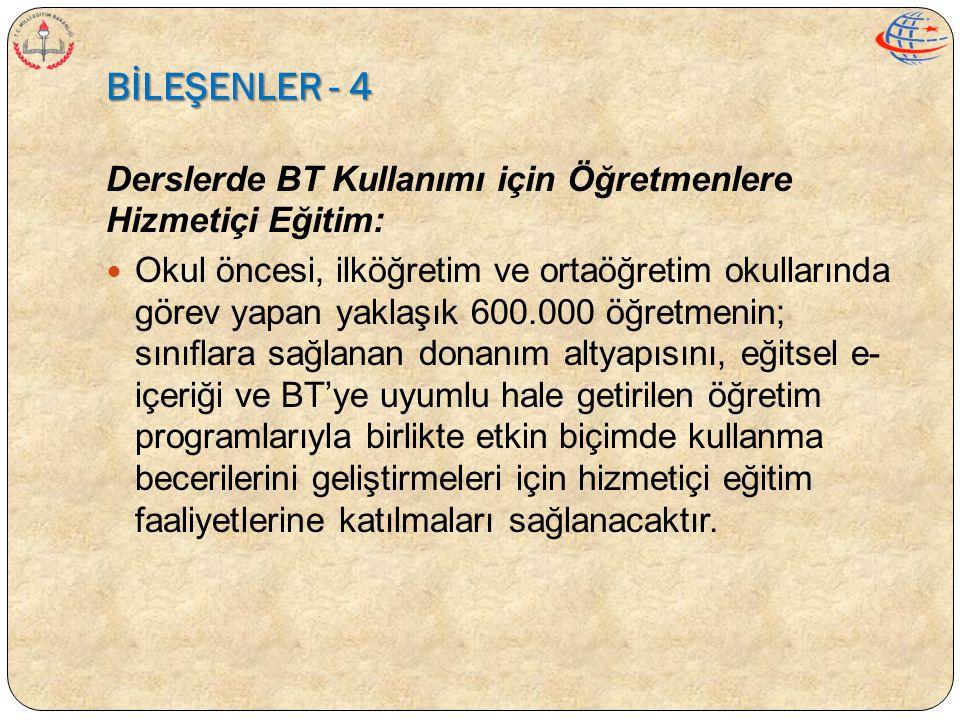 BİLEŞENLER - 4 Derslerde BT Kullanımı için Öğretmenlere Hizmetiçi Eğitim:  Okul öncesi, ilköğretim ve ortaöğretim okullarında görev yapan yaklaşık 60