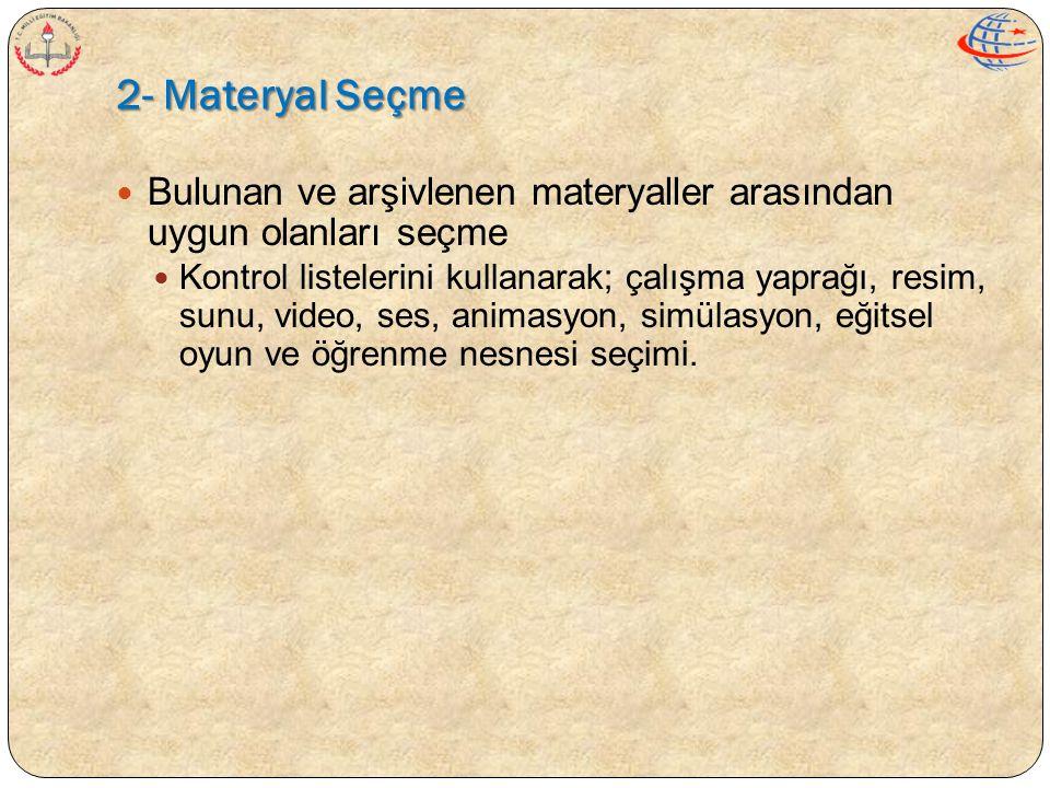 2- Materyal Seçme  Bulunan ve arşivlenen materyaller arasından uygun olanları seçme  Kontrol listelerini kullanarak; çalışma yaprağı, resim, sunu, v