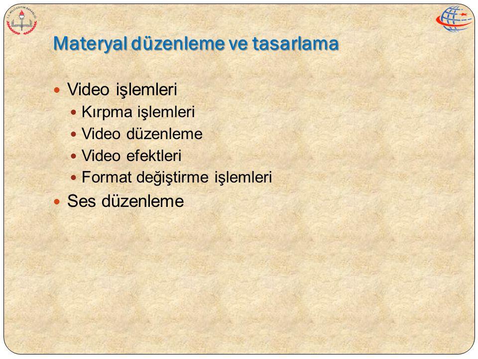 Materyal düzenleme ve tasarlama  Video işlemleri  Kırpma işlemleri  Video düzenleme  Video efektleri  Format değiştirme işlemleri  Ses düzenleme