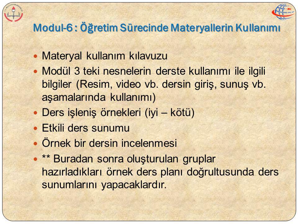  Materyal kullanım kılavuzu  Modül 3 teki nesnelerin derste kullanımı ile ilgili bilgiler (Resim, video vb. dersin giriş, sunuş vb. aşamalarında kul