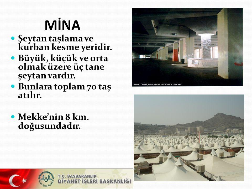 Mina'da büyük şeytana 7 taş atılır.