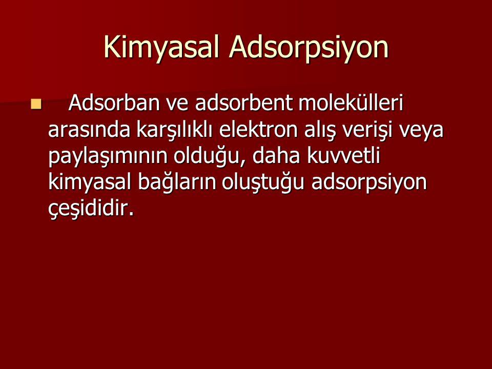 Değişim Adsorpsiyonu • Zıt elektrik yüklerine sahip adsorban ile adsorbent yüzeyinin birbirini çekmesi ile olmaktadır.