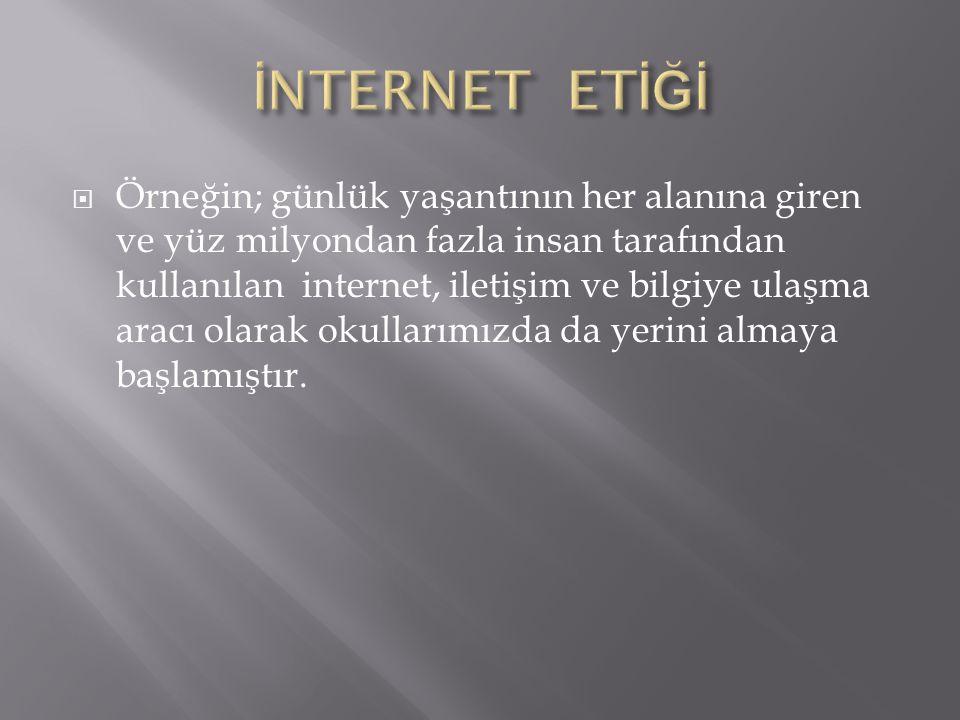  İnternetin günümüzde yaygın bir iletişim aracı olarak kullanılması, beraberinde dikkat edilmesi gereken bazı kuralları da getirmektedir.