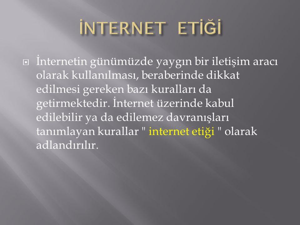  İnternet etiği olarak adlandırılan bu kurallar, internet kullanılırken diğer insanların haklarına saygılı olmak için ne yapılıp ne yapılamayacağına ilişkindir.