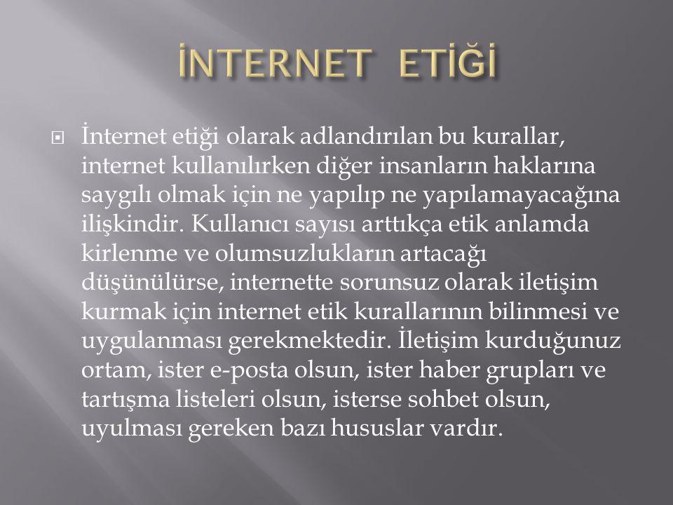  İnternet etiği olarak adlandırılan bu kurallar, internet kullanılırken diğer insanların haklarına saygılı olmak için ne yapılıp ne yapılamayacağına