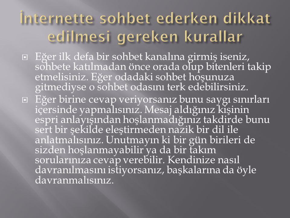 İnternette düzgün Türkçe kullanılmalı, nazik ve saygılı olunmalı, karşılıklı tartışmalar belirli bir seviyede olmalıdır.