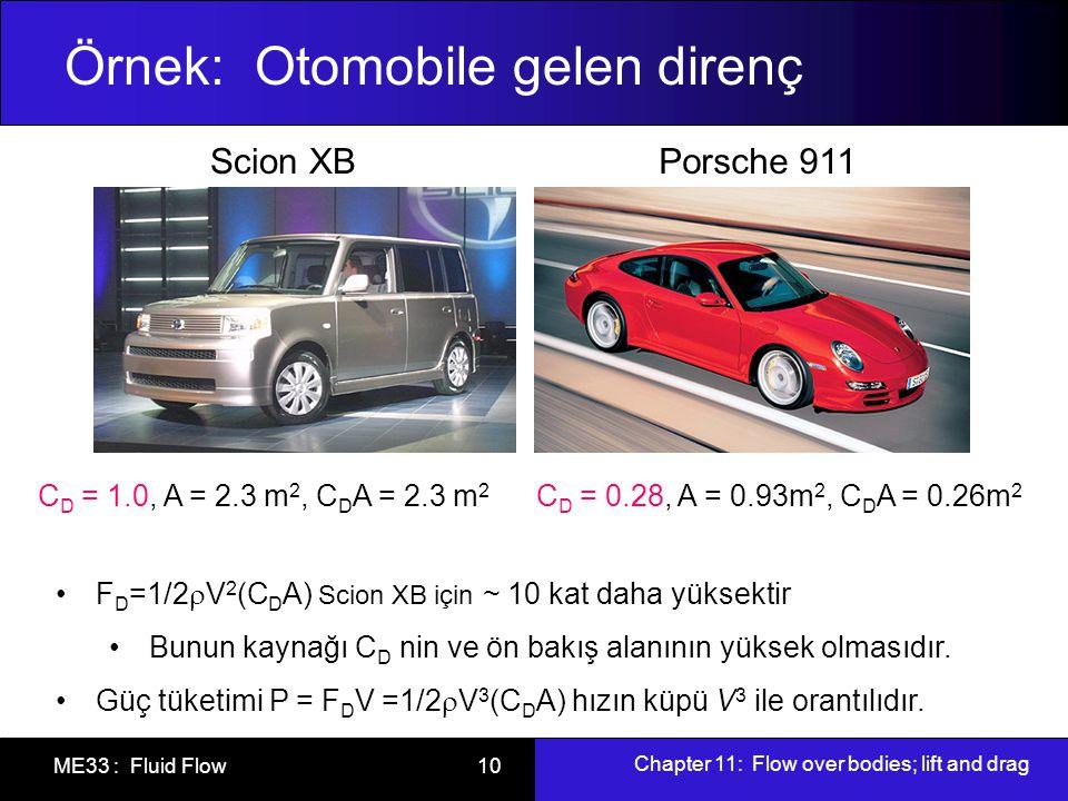 Chapter 11: Flow over bodies; lift and drag ME33 : Fluid Flow 10 Örnek: Otomobile gelen direnç Scion XBPorsche 911 C D = 1.0, A = 2.3 m 2, C D A = 2.3