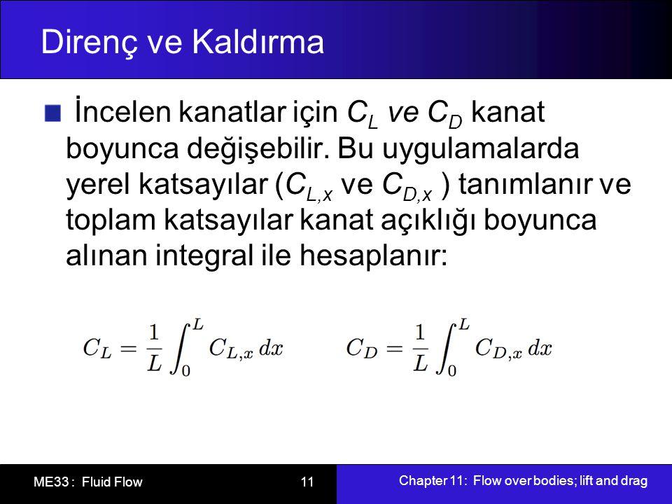 Chapter 11: Flow over bodies; lift and drag ME33 : Fluid Flow 11 Direnç ve Kaldırma İncelen kanatlar için C L ve C D kanat boyunca değişebilir. Bu uyg