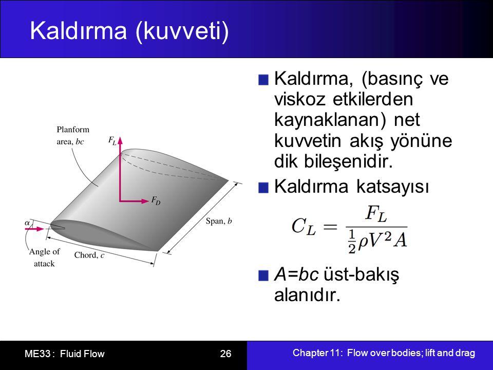 Chapter 11: Flow over bodies; lift and drag ME33 : Fluid Flow 26 Kaldırma (kuvveti) Kaldırma, (basınç ve viskoz etkilerden kaynaklanan) net kuvvetin a