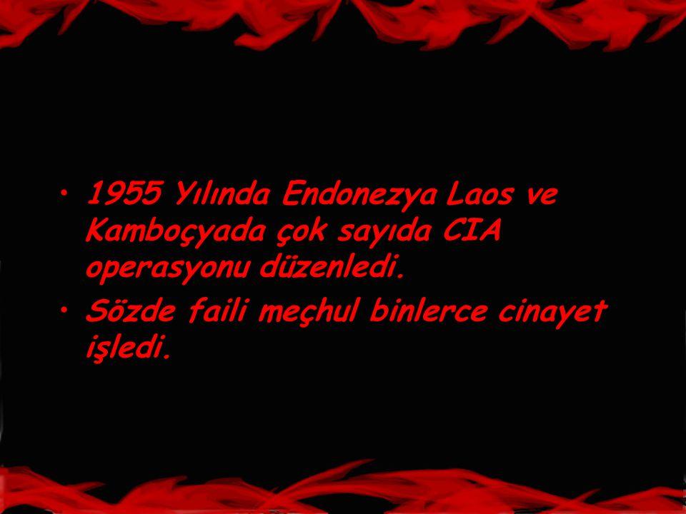 •1955 Yılında Endonezya Laos ve Kamboçyada çok sayıda CIA operasyonu düzenledi. •Sözde faili meçhul binlerce cinayet işledi.