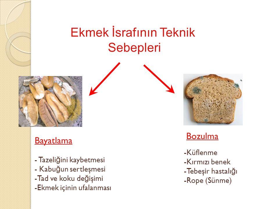 Küflenme ve Mikotoksinler Aflatoksin -mide, -ba ğ ırsak ve -karaci ğ er kanseri -Paket içindeki dilimlenmiş ekmekleri kullanırken, dilim aralarını çok iyi kontrol etmek, -Paket ekmeklerin son kullanma tarihine de ğ il, üretim tarihine bakmak ve üretim tarihinden sonra en fazla 3 gün içinde buzdolabında saklayıp tüketmek -Koklamak, en ufak bir küf kokusu alınırsa, görüntüde bir şey olmasa bile o ekme ğ i tüketmemek, hayvanlara da yem olarak vermemek gerekir.