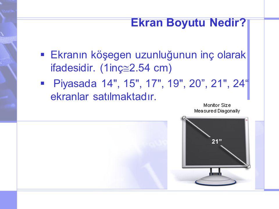 Ekran Boyutu Nedir. Ekranın köşegen uzunluğunun inç olarak ifadesidir.