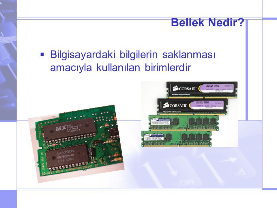 Bellek Kapasitesi Nedir.Bit: 0 (yanlış) ya da 1 (doğru) Byte: 8 adet bit demektir.
