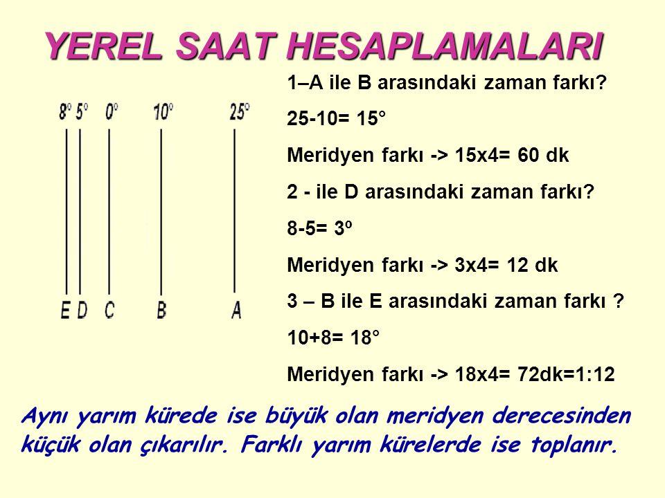 YEREL SAAT HESAPLAMALARI YEREL SAAT HESAPLAMALARI Aynı yarım kürede ise büyük olan meridyen derecesinden küçük olan çıkarılır.
