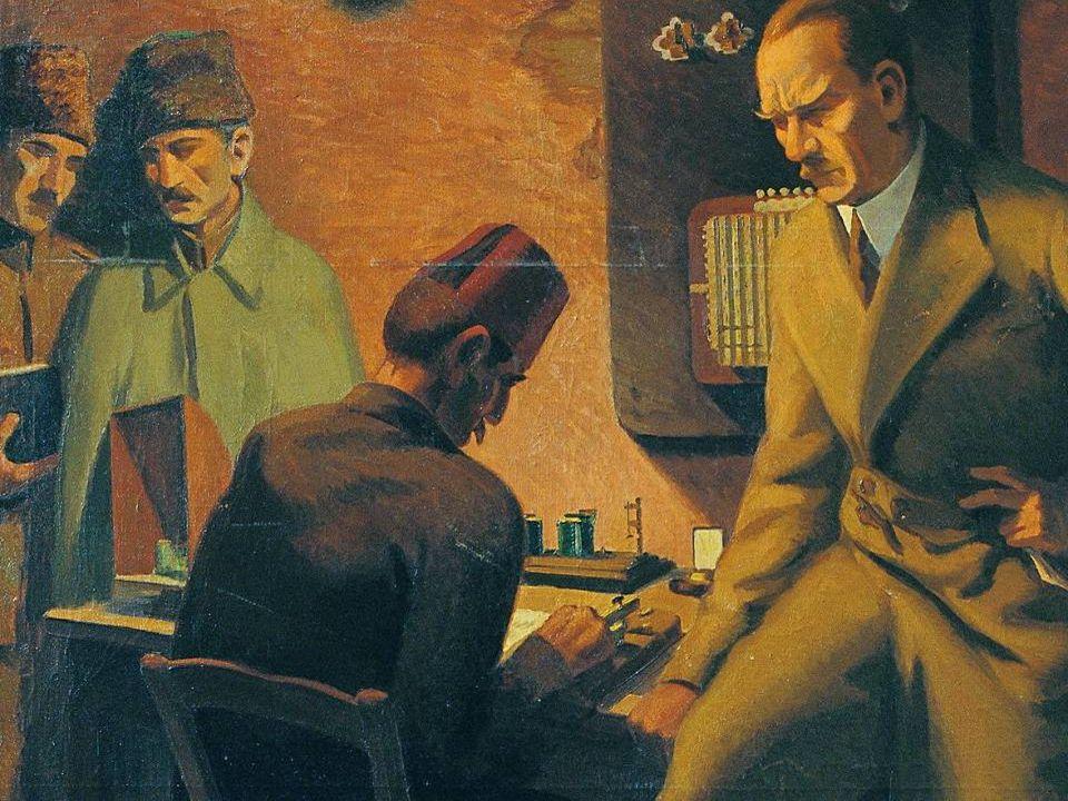 ŞEREF AKDİK ATATÜRK TELGRAF BAŞINDA / 1934 Tuval Üzerinde Yağlıboya / 178x138cm MSGSÜ İstanbul Resim ve Heykel Müzesi Kol.