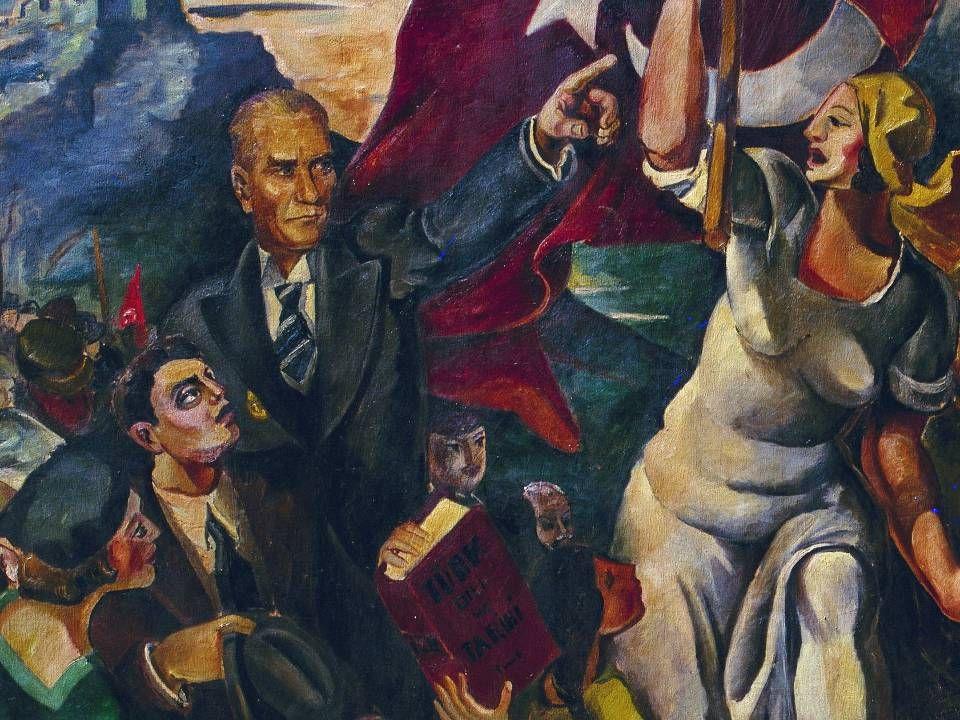 ZEKİ FAİK İZER İNKILAP YOLUNDA / 1933 Tuval Üzerine Yağlıboya / 176,5x237cm. MSGSÜ İstanbul Resim ve Heykel Müzesi Kol.