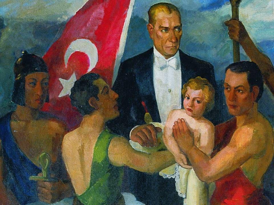 ARİF BEDİİ KAPTAN CUMHURİYET GENÇLİĞİNE TEVDİ / 1934 Tuval Üzerine Yağlıboya / 200x155cm. MSGSÜ İstanbul Resim ve Heykel Müzesi Kol.