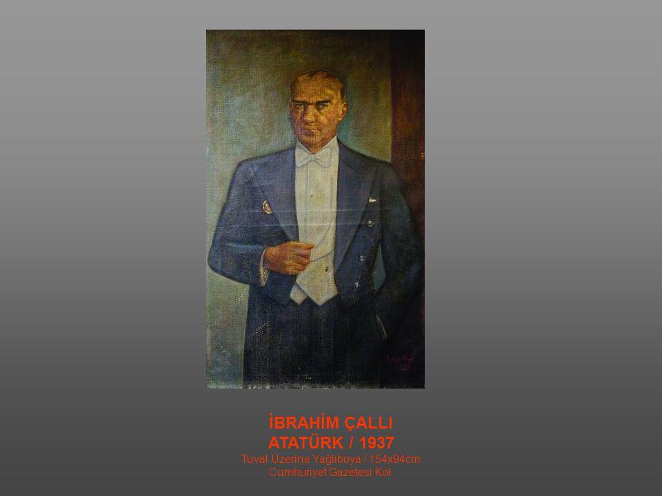 TURGUT ZAİM DOĞULU VE BATILI HALKIN ATATÜRK'E ŞÜKRANI / 1933 Tuval Üzerine Yağlıboya (triptik) / 181,5x737cm.