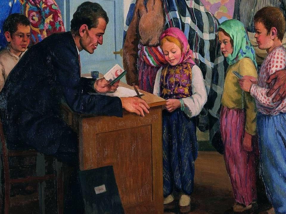 ŞEREF AKDİK OKULA KAYIT / 1935 Tuval Üzerine Yağlıboya / 168x212cm. T.C. Kültür ve Turizm Bakanlığı Ankara Resim ve Heykel Müzesi Kol.
