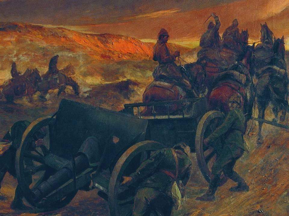 İBRAHİM ÇALLI TÜRK TOPÇULARI 1917 Tuval üzerine yağlıboya / 180x270cm. MSGSÜ İstanbul Resim ve Heykel Müzesi Kol.