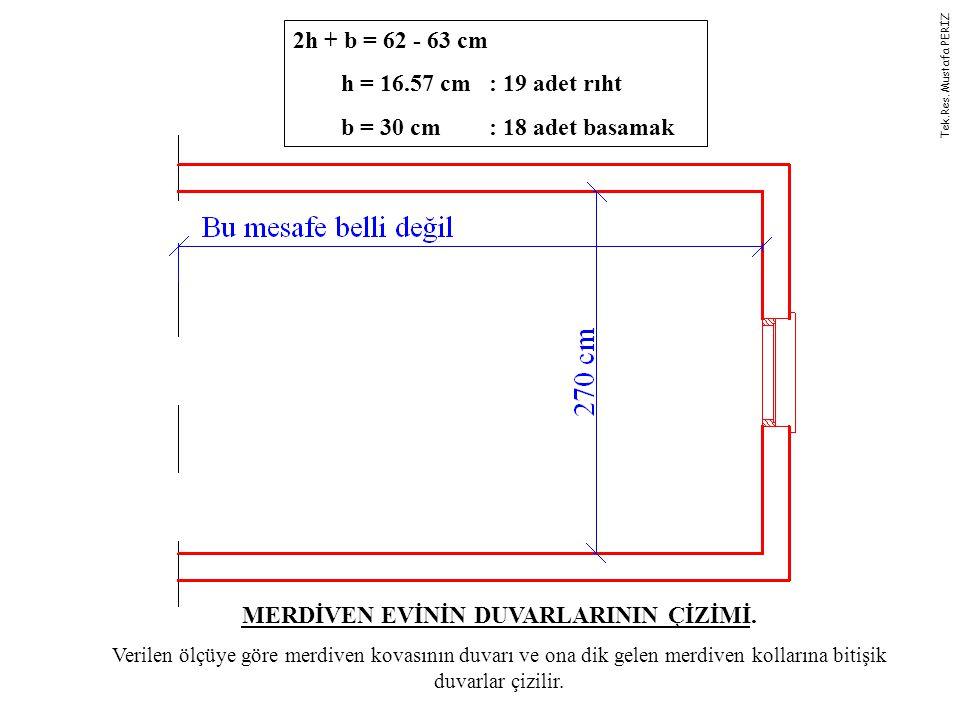2h + b = 62 - 63 cm h = 16.57 cm : 19 adet rıht b = 30 cm : 18 adet basamak MERDİVEN EVİNİN DUVARLARININ ÇİZİMİ. Verilen ölçüye göre merdiven kovasını