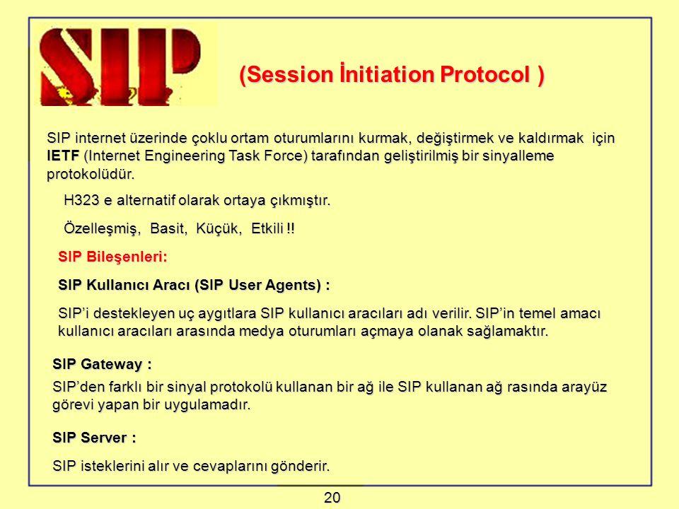 (Session İnitiation Protocol ) SIP internet üzerinde çoklu ortam oturumlarını kurmak, değiştirmek ve kaldırmak için IETF (Internet Engineering Task Force) tarafından geliştirilmiş bir sinyalleme protokolüdür.