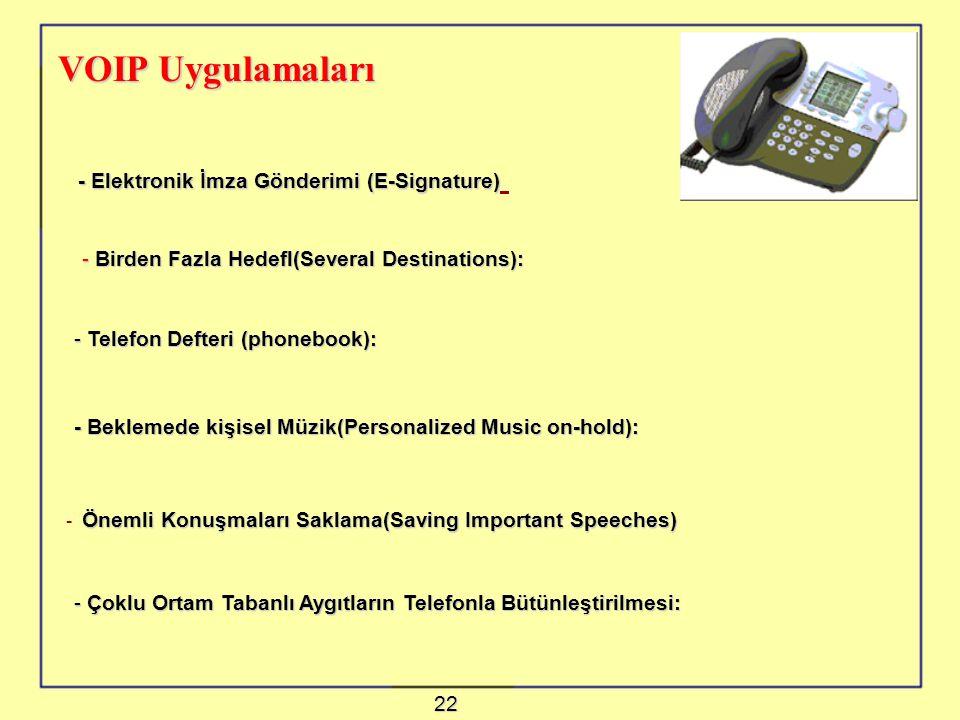 VOIP Uygulamaları - Elektronik İmza Gönderimi (E-Signature) - Elektronik İmza Gönderimi (E-Signature) - Birden Fazla Hedefl(Several Destinations): - Telefon Defteri (phonebook): - Beklemede kişisel Müzik(Personalized Music on-hold): - Önemli Konuşmaları Saklama(Saving Important Speeches) - Çoklu Ortam Tabanlı Aygıtların Telefonla Bütünleştirilmesi: 22
