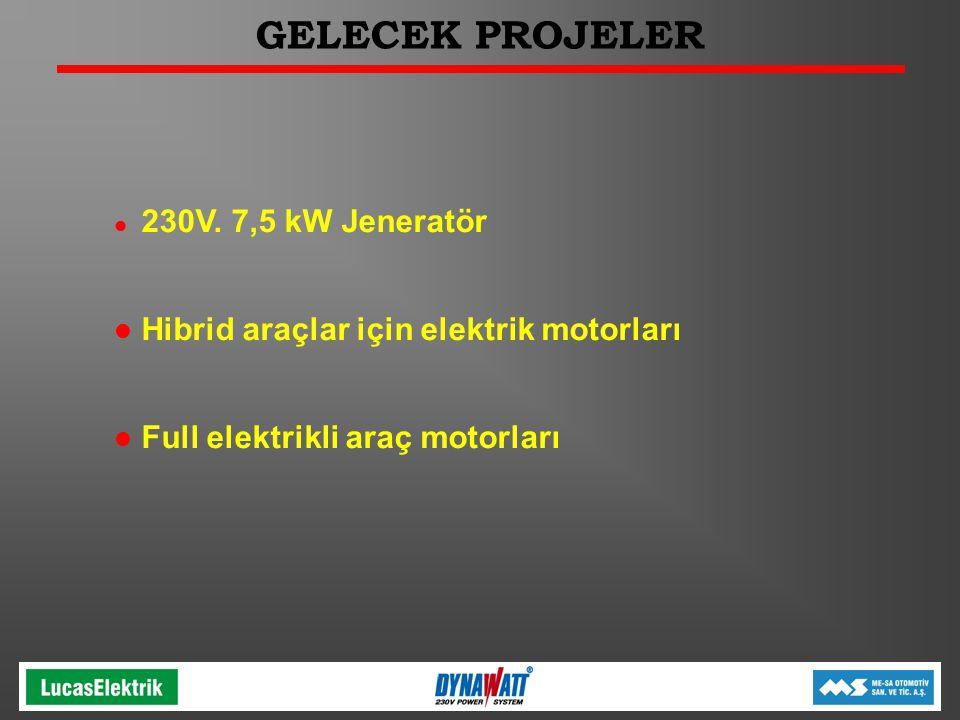 GELECEK PROJELER l 230V. 7,5 kW Jeneratör l Hibrid araçlar için elektrik motorları l Full elektrikli araç motorları