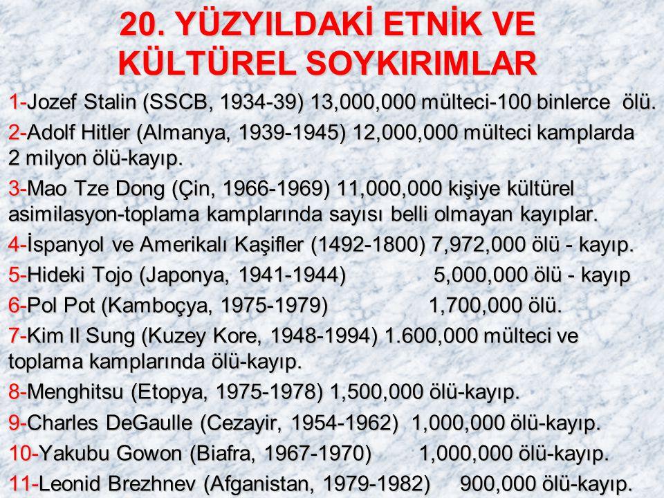 20. YÜZYILDAKİ ETNİK VE KÜLTÜREL SOYKIRIMLAR 1-Jozef Stalin (SSCB, 1934-39) 13,000,000 mülteci-100 binlerce ölü. 2-Adolf Hitler (Almanya, 1939-1945) 1