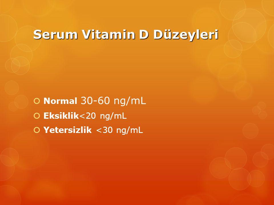 Serum Vitamin D Düzeyleri  Normal 30-60 ng/mL  Eksiklik<20 ng/mL  Yetersizlik <30 ng/mL
