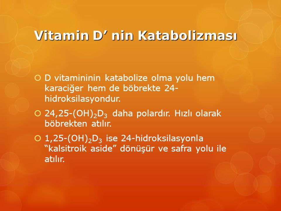 Vitamin D' nin Katabolizması  D vitamininin katabolize olma yolu hem karaciğer hem de böbrekte 24- hidroksilasyondur.