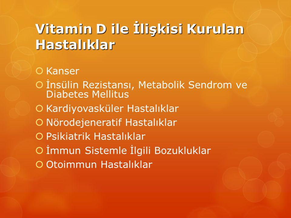 Vitamin D ile İlişkisi Kurulan Hastalıklar  Kanser  İnsülin Rezistansı, Metabolik Sendrom ve Diabetes Mellitus  Kardiyovasküler Hastalıklar  Nörodejeneratif Hastalıklar  Psikiatrik Hastalıklar  İmmun Sistemle İlgili Bozukluklar  Otoimmun Hastalıklar