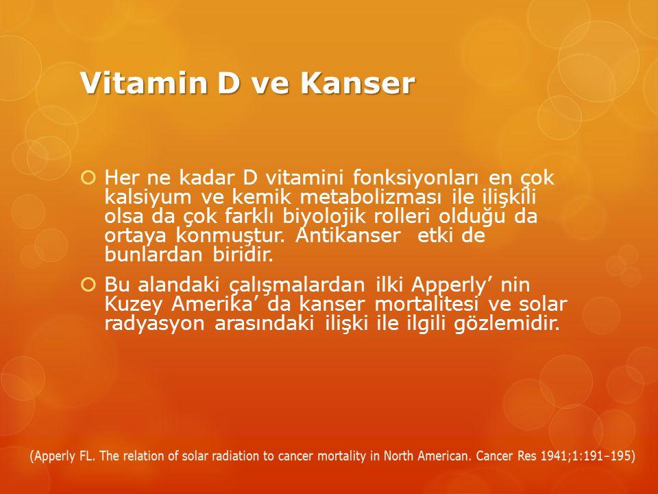 Vitamin D ve Kanser  Her ne kadar D vitamini fonksiyonları en çok kalsiyum ve kemik metabolizması ile ilişkili olsa da çok farklı biyolojik rolleri olduğu da ortaya konmuştur.