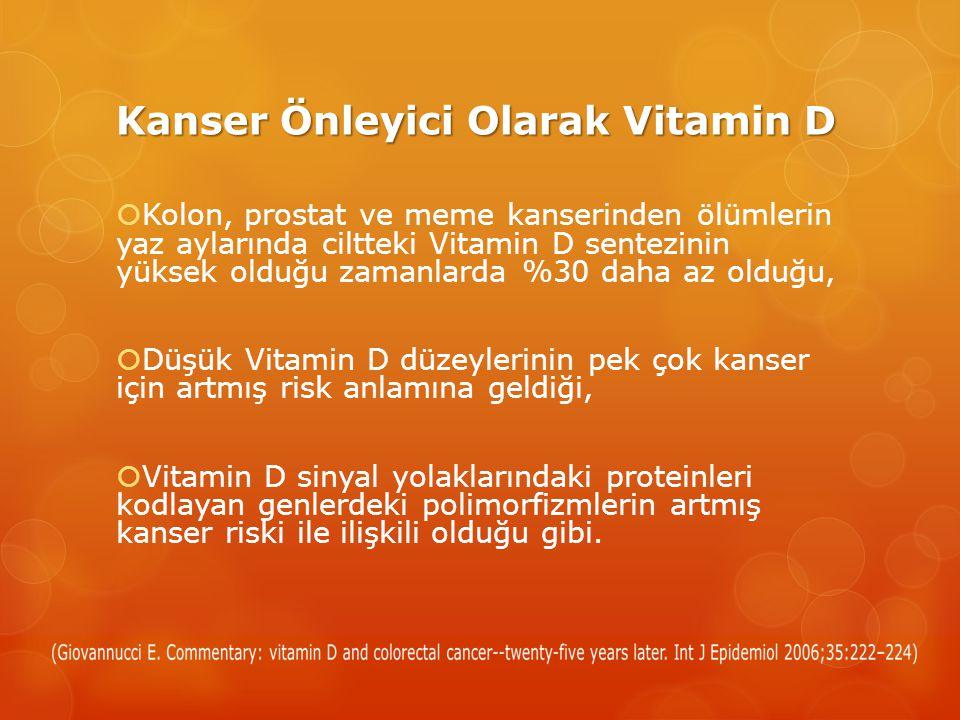 Kanser Önleyici Olarak Vitamin D  Kolon, prostat ve meme kanserinden ölümlerin yaz aylarında ciltteki Vitamin D sentezinin yüksek olduğu zamanlarda %30 daha az olduğu,  Düşük Vitamin D düzeylerinin pek çok kanser için artmış risk anlamına geldiği,  Vitamin D sinyal yolaklarındaki proteinleri kodlayan genlerdeki polimorfizmlerin artmış kanser riski ile ilişkili olduğu gibi.